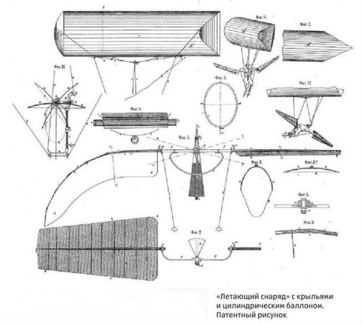 7.Летающий снаряд. Рисунок из патента.