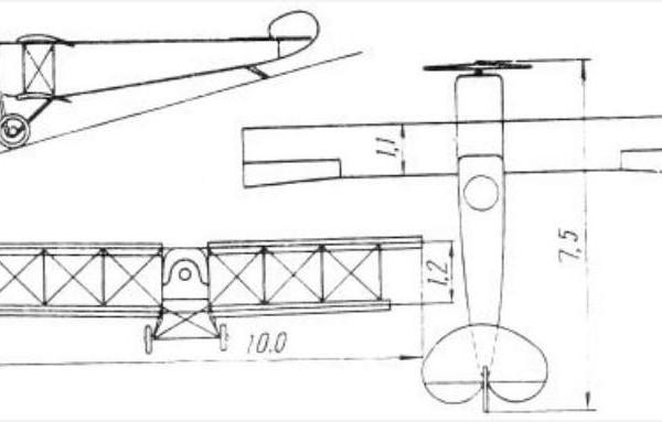 Примерная схема самолета Малый Муромец.