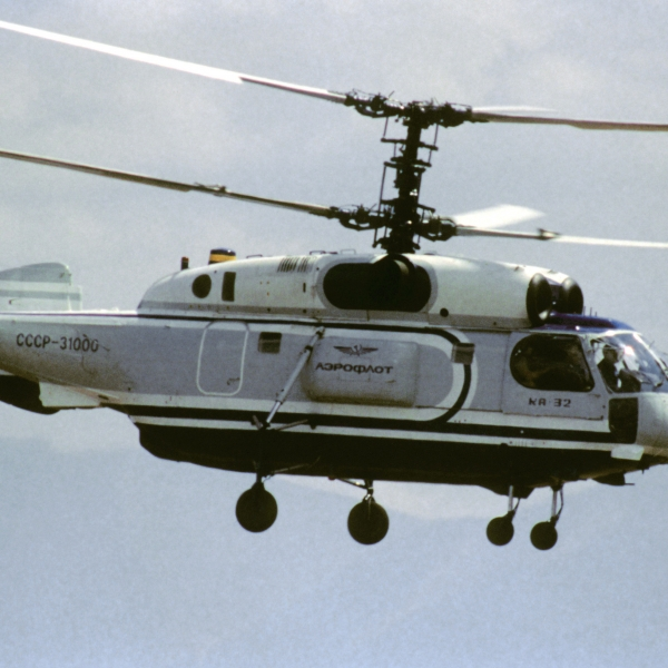 A Soviet Ka-32 Helix helicopter passes over the airfield during Airshow Canada '89.