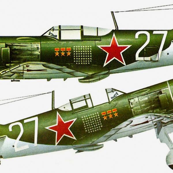 10.Ла-7 Ивана Кожедуба. 62 сбитых немецких самолёта. Рисунок.