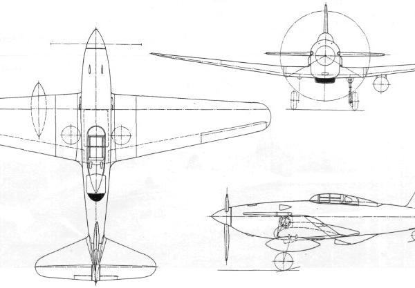 10.Общий вид самолета И-135. Схема.