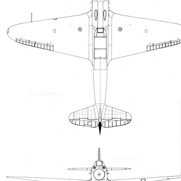 10.Як-7Б ранних серий. Схема 2.