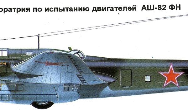 12.Пе-8 летающая лаборатория по испытанию двигателей АШ-82. Рисунок.