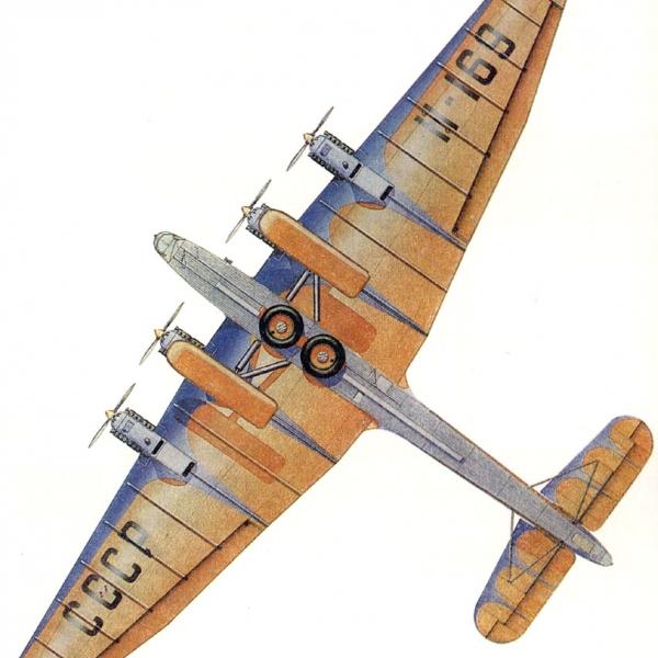 14.АНТ-6А. Вид снизу. Рисунок.