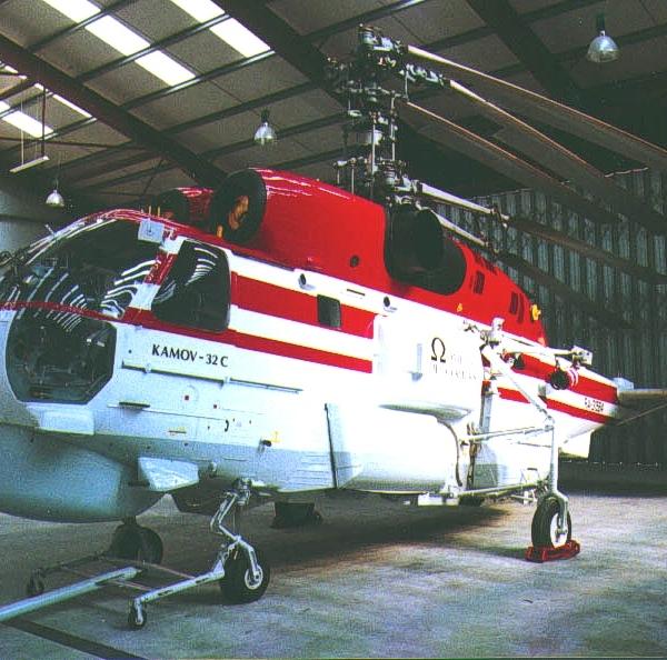 2.Ка-32С на стоянке в ангаре.