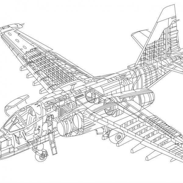37.Компоновочная схема Су-25.