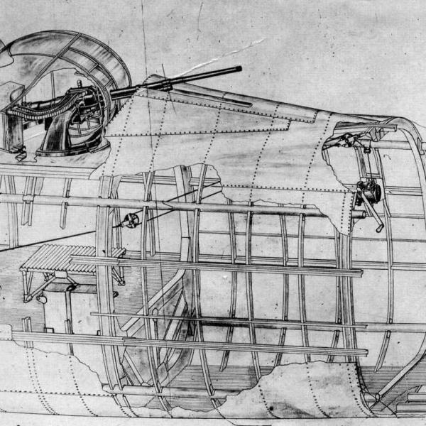 39.Верхняя оборонительная установка Пе-8. Схема.