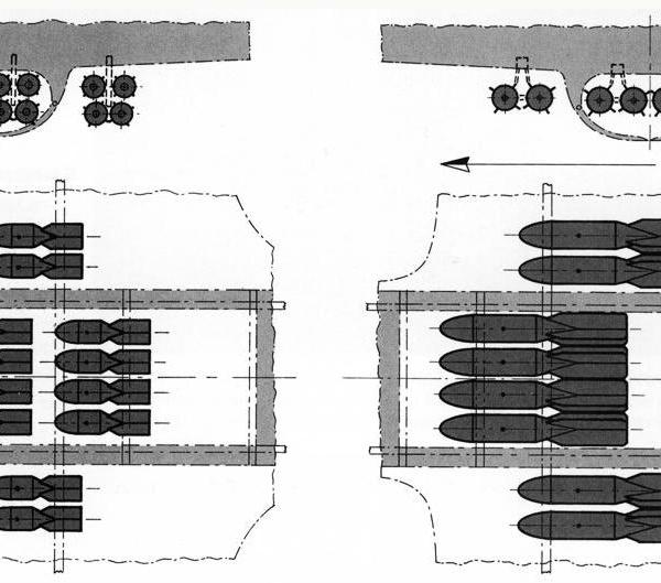 40а.Схема подвески 100 кг и 250 кг бомб на Пе-8.