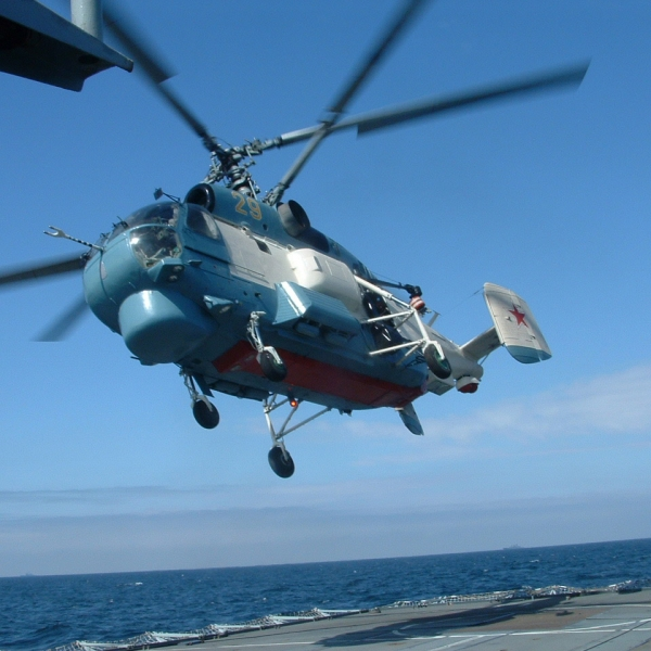 "050607-N-0000L-002 A Russian KA-27 helicopter assigned to the Russian destroyer RFS Natoychiviy (DD 610) takes off from the British frigate HMS Sutherland (F 81) during Baltic Operations (BALTOPS) 2005. This year's international exercise, co-hosted by Latvia and the United States, includes 11 nations, 4,100 people, 40 ships, 28 aircraft and two submarines in the spirit of ""Partnership for Peace (PFP)."" BALTOPS 2005 improves interoperability with allies and PFP countries by conducting peace support operations at sea to include a combined amphibious landing and a scenario dealing with potential real world crisis. Royal Navy photo by Lt. Cmdr. Keith Lincoln (RELEASED)"