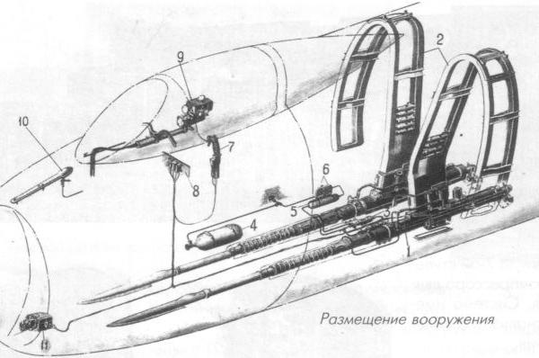 5.Су-17 (Первый). Схема размещения вооружения.