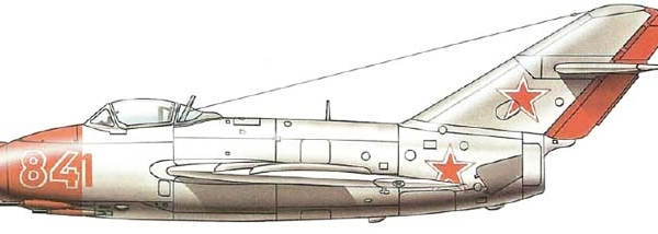 7.МиГ-15 в начале 50-х. Рисунок.