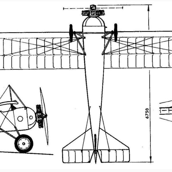 7.Торпедо 2-местный с двигателем Rhone 80 л.с. Схема.