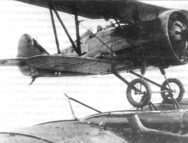 9.И-5 в момент старта с крыла ТБ-3.