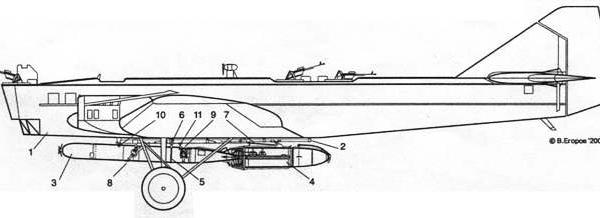 9.Схема подвески высотной торпеды ТАВ-15 на ТБ-1П.