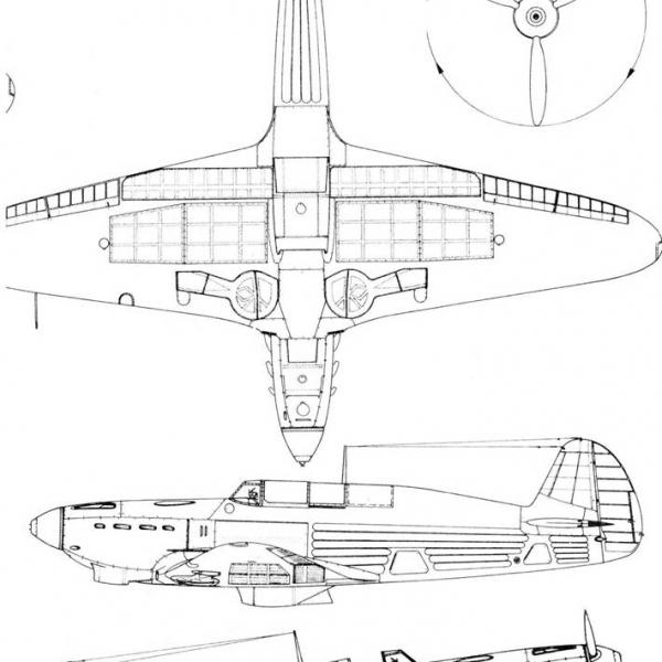 9.Як-7Б ранних серий. Схема 1.