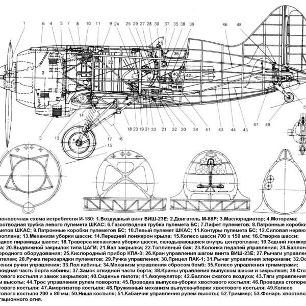 Компоновочная схема истребителя И-180.