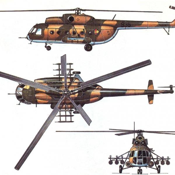 22а.Проекции Ми-8ТВ. Рисунок.