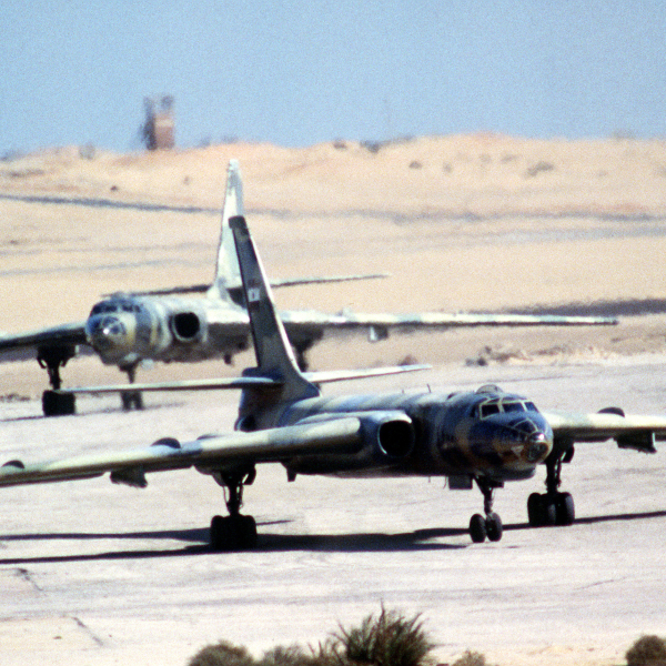 Front view of two Egyptian Air Force Tu-16, Tupolev, aircraft taxing on the runway during airlift exercise Bright Star. The Tu-16's NATO designation is Badger.