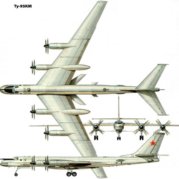 9.Проекции Ту-95КМ. Рисунок.