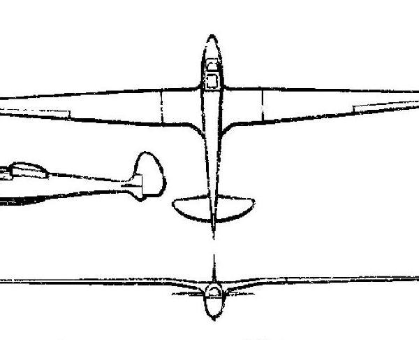 Планер АГ-1. Схема