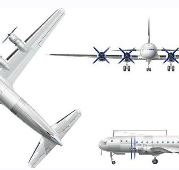 12.Проекции Ил-18 (первого). Рисунок.