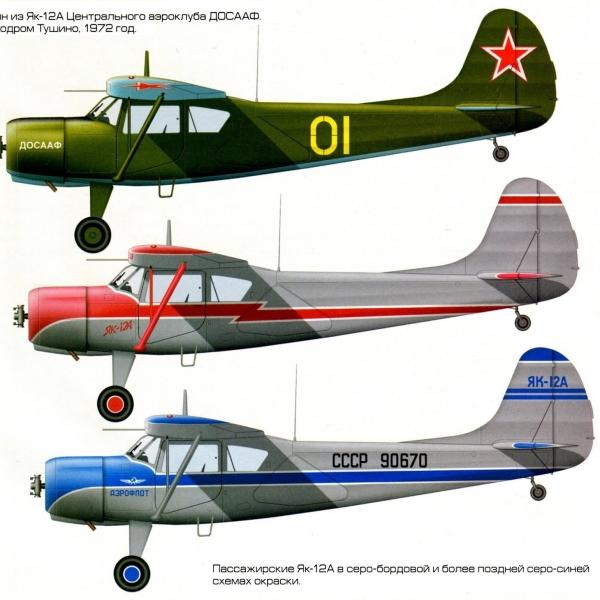 14.Варианты окраски Як-12А. Рисунок.