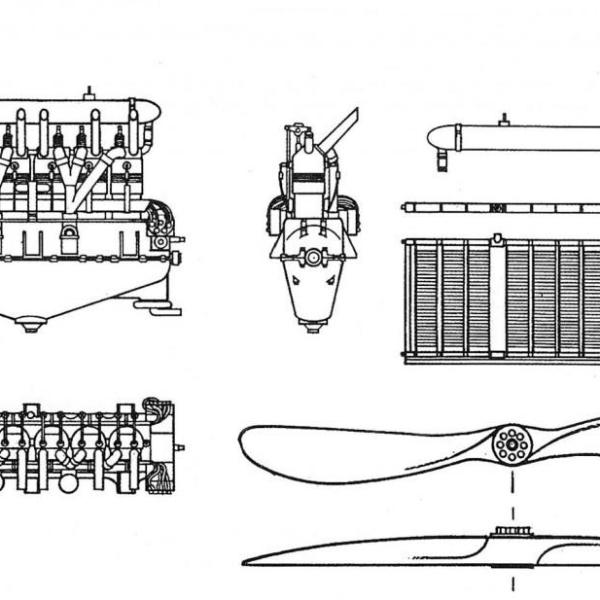 2.Проекции РБВЗ-6 с поздними радиаторами сист. Хазета. Схема.