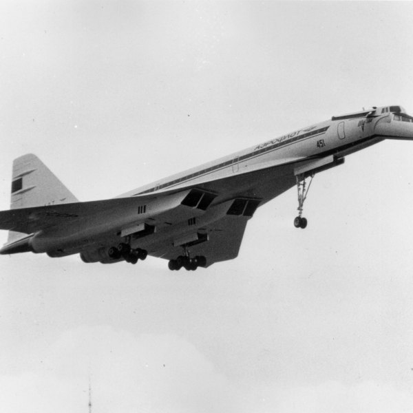 5th June 1973: The ill-fated Russian TU-144 supersonic airliner aeroplane, shortly before it exploded and crashed, during a display at the Paris International Air Show. The crew of six, and at least nine people on the ground, were killed. (Photo by Keystone/Getty Images)