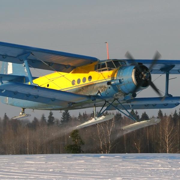 3.Ан-2 Лыжный на взлете.