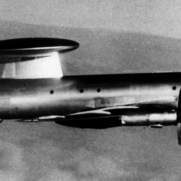 A right side view of a Soviet Tu-126 Moss airborne early warning (AEW) aircraft in flight.