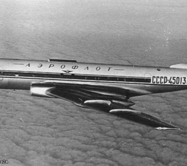 5б.Ту-124 в полете. 2