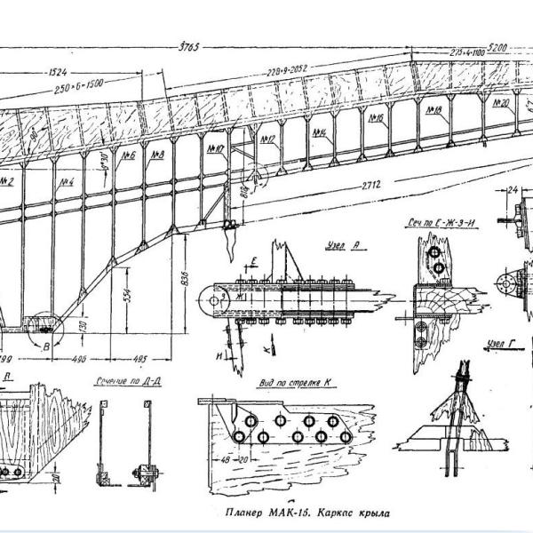 6.Каркас крыла планера МАК-15. Схема.