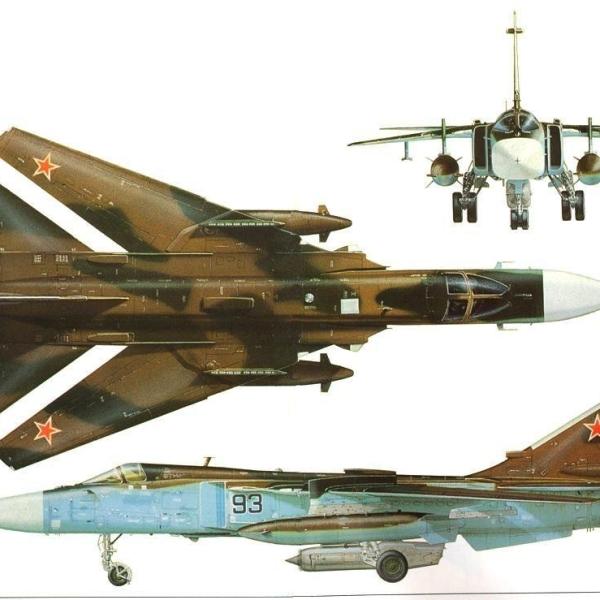 6.Проекции Су-24МК с системой УПАЗ-А. Рисунок.