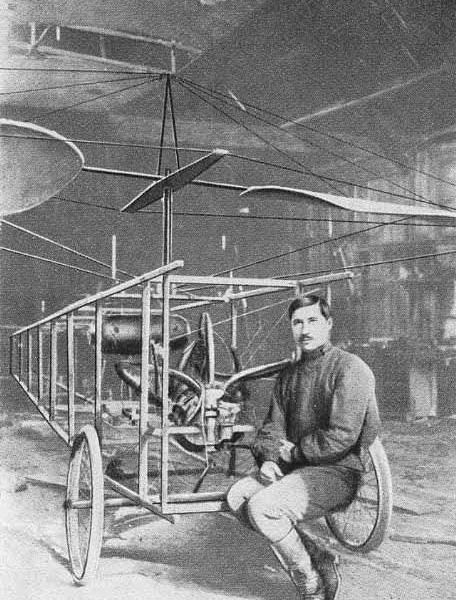 1.Студент Б.H.Юрьев у своего геликоптера в 1913 году.