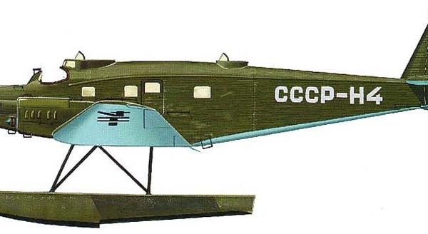 10.ЮГ-1 Полярной авиации на поплавках. Рисунок.