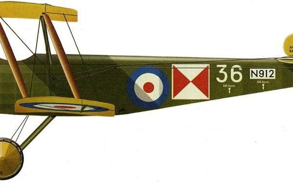 14.Одноместный Sopwith 1 1-2 Strutter английских ВВС. Рисунок.