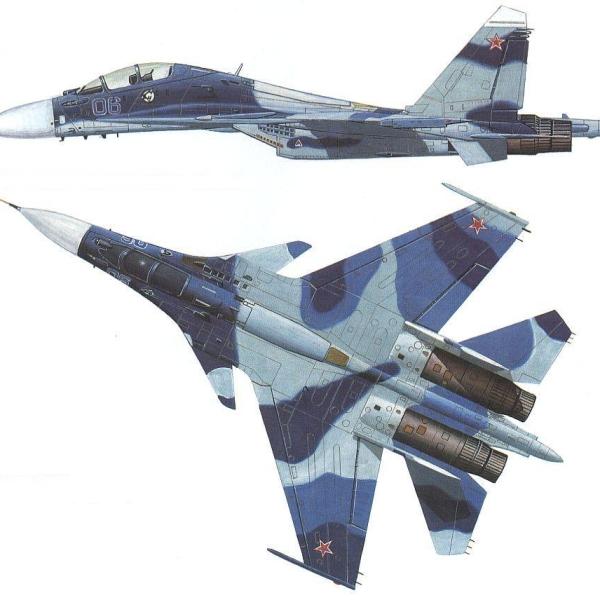 14.Проекции второго опытного Су-30МКИ (Т-10ПУ-6). Рисунок.