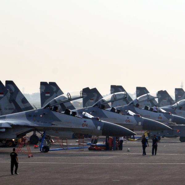5.Истребители Су-30МК2 ВВС Индонезии на стоянках.
