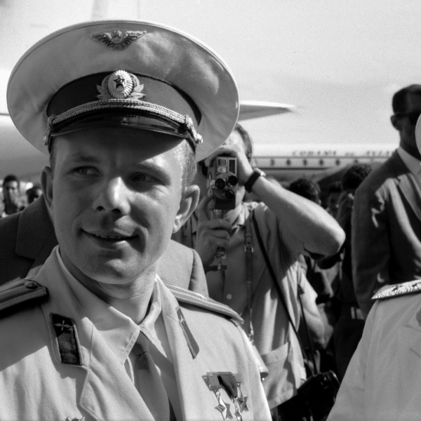 Russian cosmonaut Col Yuri Alexeyevich Gagarin (1934 - 1968) arrives at Havana airport July 24, 1961 on an official visit. Gagarin, the first man in space (April 12, 1961), was to die in a (MIG-15) plane accident seven years later at age 34.