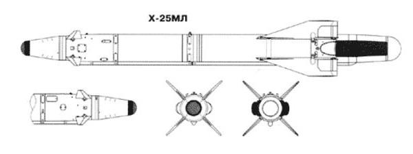 7.Проекции Х-25МЛ. Схема.