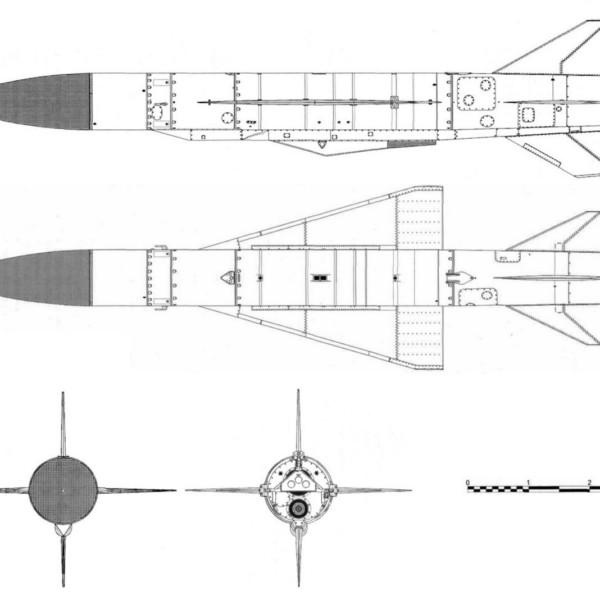 1.Проекции ракеты Х-22. Схема.