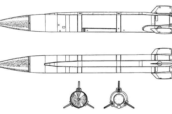 Проекции ракеты Х-15П. Схема.