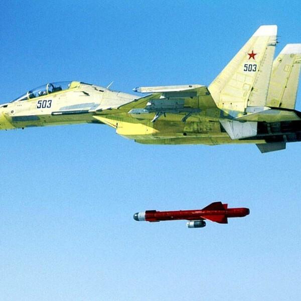 Пуск ракеты Х-59МК с Су-30МКК.